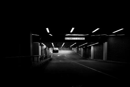 Dimly lit parking garage